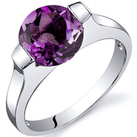 Bezel Set 1.75 carats Amethyst Engagement Sterling Silver Ring