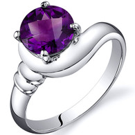 Smooth Seduction 1.25 carats Amethyst Solitaire Sterling Silver Ring