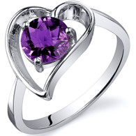 Heart Shape 0.75 carats Amethyst Solitaire Sterling Silver Ring