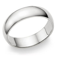 6MM Stering Silver High Polished Half-Round Light Comfort Fit Classy Dome Wedding Band Ring