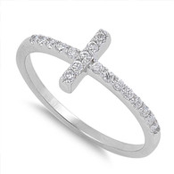 Sterling Silver Classy Thin Simulated Diamond Pave Sideways Cross Ring with Face Height of 9MM
