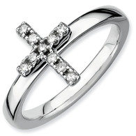Sterling Silver Stackable Expressions Cross Diamond Ring