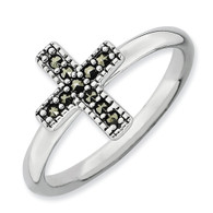 Sterling Silver Stackable Expressions Marcasite Cross Ring