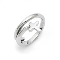 Stainless Steel Twisted Cross Polished Ring