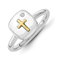 Sterling Silver & 14k Cross Stackable Expressions Diamond Ring