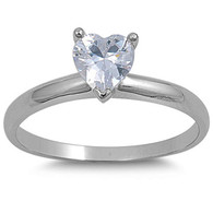 Sterling Silver Heart Cut Clear Solitaire Simulated Diamond Engagement Ring on Prong Setting