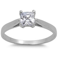 Sterling Silver Princess Cut Clear Solitaire Simulated Diamond Engagement Ring