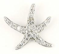 14k White Gold Diamond Star Fish Ladies Pendant Charm C14199