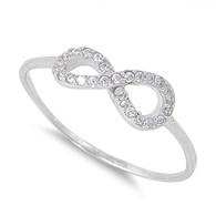 Plain Sterling Silver Infinity Ring with Cubic Zirconia