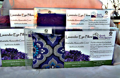 Our Deluxe Lavender Eye Pillows are all handmade in a variety of fabric styles.  The pillow is made with soft minky fabric and contains a refillable insert for ease of washing the cover.  The pillow can be used hot or cold.  For hot therapy, place pillow in microwave for 1 minute.  For cold therapy, place pillow in zip lock bag and pace in freezer for 1 hour.  Helps relieve sinus headaches and migraines.