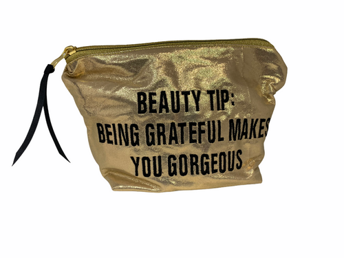 """Gold Metallic Bag with Beauty Tip saying (10"""" x 7"""" x 3"""") - large"""