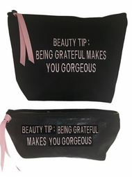 Beauty Tip:  Being Grateful Makes You Gorgeous - BLACK pouch