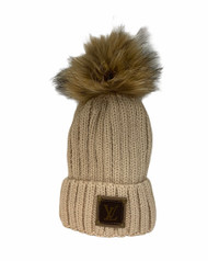Real Fur Pom Pom Hat - Recycled Designer Patch