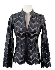 Classic Leaf Design Leather Jacket