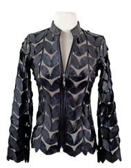 Classic Leaf Design Leather Jacket