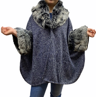 Navy Faux Fur Trimmed Poncho