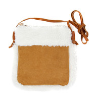 Sherpa Fleece Crossbody Bag - Brown