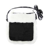 Sherpa Fleece Crossbody Bag - Black