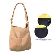 Corduroy Crossbody Bag - Beige