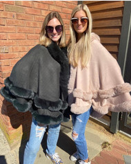 Fur-Trimmed Hooded Cape