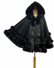 Faux Fur-Trimmed Hooded Cape