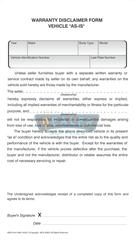 Warranty Disclaimer Form