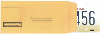License Plate Envelopes - Moist & Seal - PrePrinted - FORM #LPEV-1