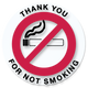 Thank you for not smoking sticker.