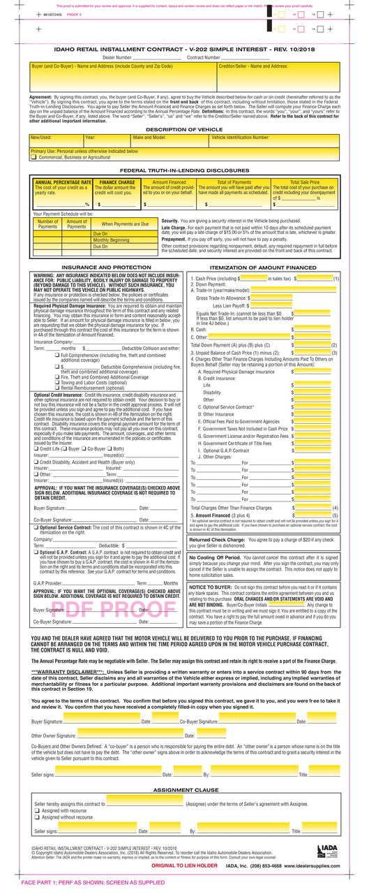 Idaho Retail Installment Contract V 202 Simple Interest 102018