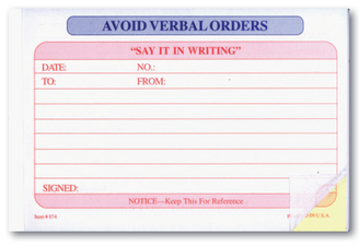 Avoid Verbal Orders Book