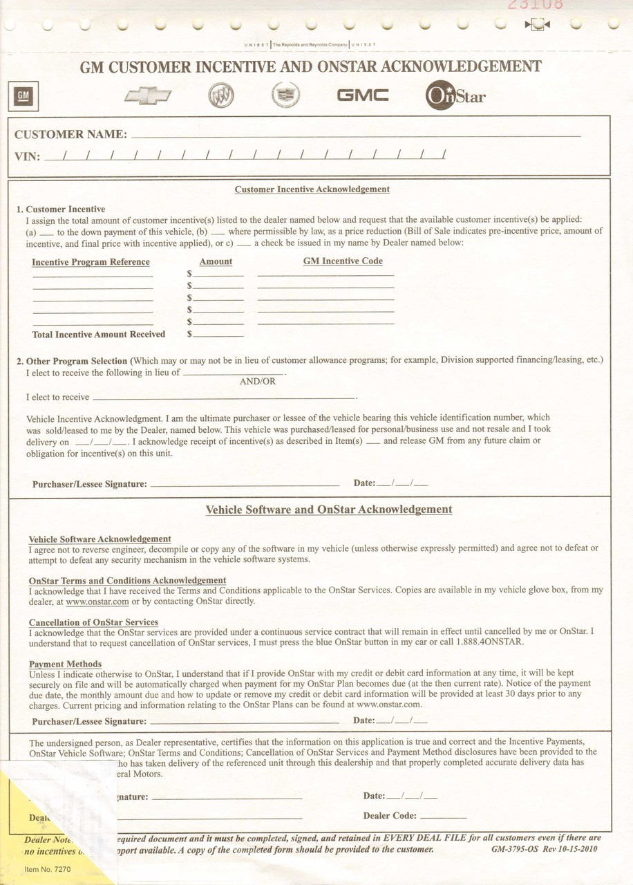 GM Customer Incentive & OnStar Acknowledgement Form#GM-3795-OS