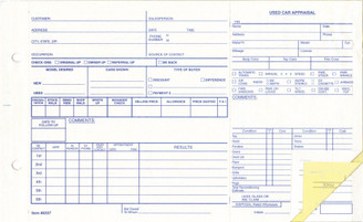 Used Vehicle Appraisal Forms  Form #290