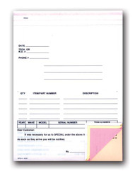 Special Parts Order Forms (Stock)   4-part   Form# SPO-4