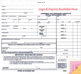 4 Part Substitute Vehicle Agreement (Crash Imprinted)   Form# CFD 252 SL