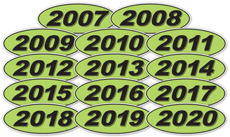 Oval Year Window Sticker : Black on Green