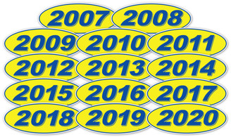 Oval Year Window Sticker: Navy Blue on Yellow