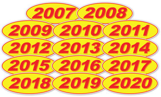 Oval Year Window Sticker : Red on Yellow