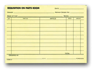 Parts Requisition Forms   Form #27