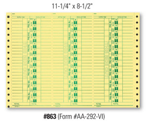 Time Clock Cards   Form# AA 292 VI