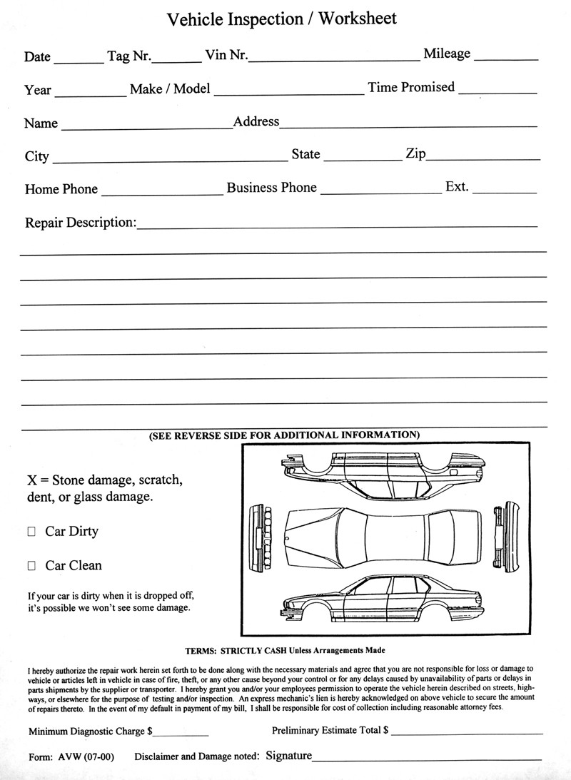 Motorcycle Rental California >> Vehicle Inspection Worksheet Form# AVW