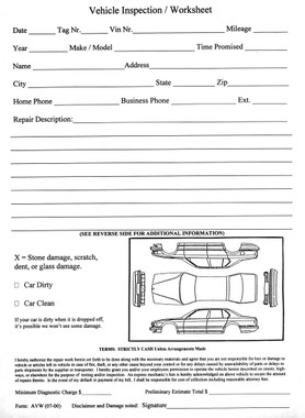 Vehicle Inspection Worksheet Form Avw