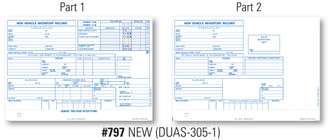 Vehicle Inventory Cards Form# DUAS 305 1