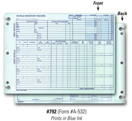 Vehicle Inventory Records 2 Sided (Form # A-532)