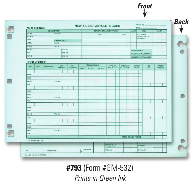 Vehicle Inventory Records 2 Sided Form # GM 532