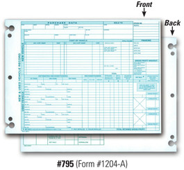 Vehicle Inventory Records   2 Sided (Form #1204 A)