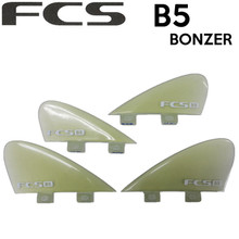 The FCS B5 Bonzer Quad side fin templates were developed by the Campbell brothers and are made from performance glass. These fins work with the concaves of the board to control water flow, which help the fins achieve greater speed, acceleration and hold. Strap in and hold on!