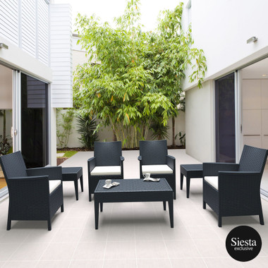 Resin Rattan Outdoor Lounge Setting with California Tub Chair