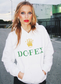 DOPEX WHITE HOODED SWEATER