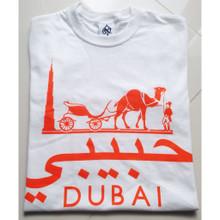 HABIBI DUBAI WHITE  ORANGE T-SHIRT