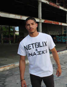 NETFLIX & SNACKS WHITE T-SHIRT